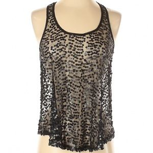 rue21 Black Sheer Sequin Tank Top- Size Small